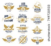 aviation retro icons set of... | Shutterstock .eps vector #749720533