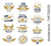 Aviation Retro Icons Set Of...