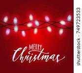 raster greeting christmas card... | Shutterstock . vector #749723533