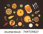 thanksgiving dish menu top view ... | Shutterstock .eps vector #749729827
