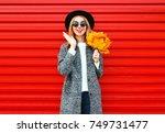 fashion autumn cheerful woman... | Shutterstock . vector #749731477