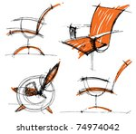 sketches of furniture | Shutterstock .eps vector #74974042
