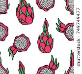 dragon fruit seamless pattern.... | Shutterstock .eps vector #749749477