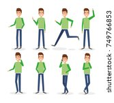 young man doing different poses | Shutterstock .eps vector #749766853