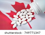 white prescription pills... | Shutterstock . vector #749771347