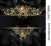 gold framed  with gold spider... | Shutterstock .eps vector #74977894