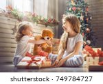 merry christmas and happy... | Shutterstock . vector #749784727