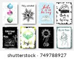 set of christmas cards with... | Shutterstock .eps vector #749788927