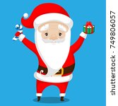 santa claus in a red suit with... | Shutterstock .eps vector #749806057