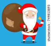 santa claus with bag of... | Shutterstock .eps vector #749813893