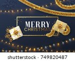 christmas background with... | Shutterstock .eps vector #749820487