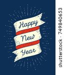 happy new year. ribbon banner... | Shutterstock .eps vector #749840653