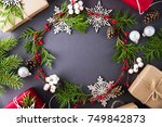 frame with christmas wreath ...   Shutterstock . vector #749842873