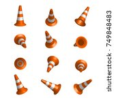 realistic vector traffic cones. ... | Shutterstock .eps vector #749848483