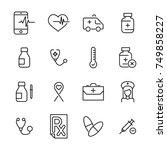 premium set of health line... | Shutterstock .eps vector #749858227