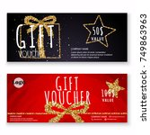 voucher template with gold gift ... | Shutterstock .eps vector #749863963