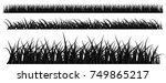vector set of black grass... | Shutterstock .eps vector #749865217