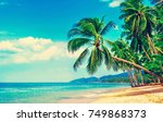 beautiful beach. view of nice...   Shutterstock . vector #749868373