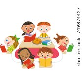 children reading books | Shutterstock .eps vector #749874427