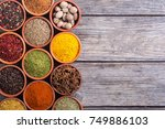 collection of indian spices in... | Shutterstock . vector #749886103