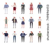 variety of outfits for office... | Shutterstock .eps vector #749896453