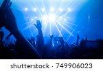 happy people dance in nightclub ... | Shutterstock . vector #749906023
