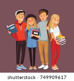 group of students with books | Shutterstock .eps vector #749909617
