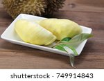 Ripe Yellow Durian Fruit And...