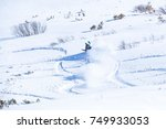 good skiing in the snowy... | Shutterstock . vector #749933053