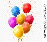 colorful balloons vector on... | Shutterstock .eps vector #749936737