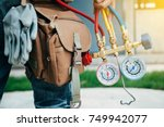 air conditioning technician and ... | Shutterstock . vector #749942077