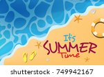 top view of the beach with text ... | Shutterstock .eps vector #749942167