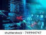 programming code abstract... | Shutterstock . vector #749944747