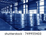 strip steel in the factory | Shutterstock . vector #749955403