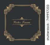 vintage frame in baroque style... | Shutterstock .eps vector #749957203