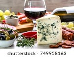 blue cheese and wine snack set  ... | Shutterstock . vector #749958163
