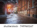 old houses on riga street.... | Shutterstock . vector #749960167