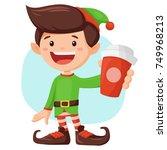 Cute Elf Boy Holding Cup Of...