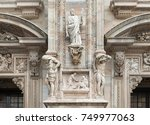 details of milan cathedral | Shutterstock . vector #749977063