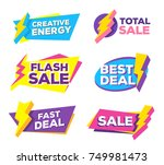 vector set of colorful discount ... | Shutterstock .eps vector #749981473