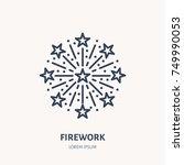 fireworks line icon. vector... | Shutterstock .eps vector #749990053