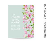 save the date card with spring... | Shutterstock .eps vector #749991973