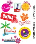country sticker | Shutterstock .eps vector #74999206