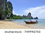longtail boat at tonsai beach ... | Shutterstock . vector #749996743