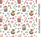 christmas seamless background. | Shutterstock . vector #749999683