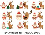 funny santa claus and cute... | Shutterstock .eps vector #750001993