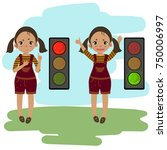 pedestrian traffic light. girl... | Shutterstock .eps vector #750006997