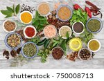 spice and herb seasoning with... | Shutterstock . vector #750008713