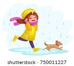 girl in raincoats and rubber... | Shutterstock .eps vector #750011227