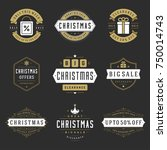 christmas sale badges  labels... | Shutterstock .eps vector #750014743